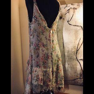 Dresses & Skirts - Raw silk frayed floral boho dress NWT L